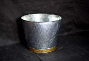 galvanized Metal Planters with brass strip and tapering ends - Kone Crafts, Handicrafts Manufacturer from India